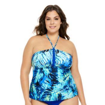 Juniors' Plus Size Costa Del Sol Palm Leaf Halterkini Top
