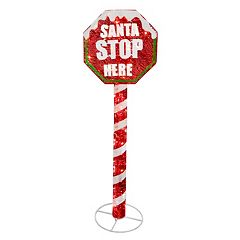 National Tree Company 60-in. Pre-Lit Sisal 'Santa' Stop Sign Christmas Decor