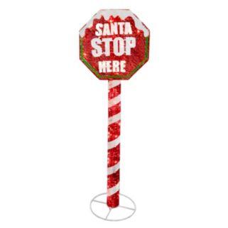 "National Tree Company 60-in. Pre-Lit Sisal ""Santa"" Stop Sign Christmas Decor"