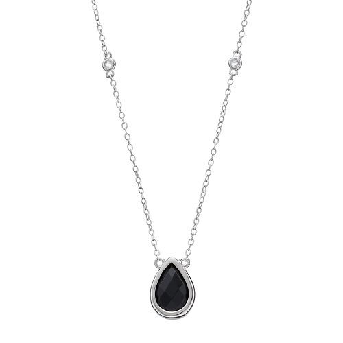 Sterling Silver Onyx & White Topaz Teardrop Necklace
