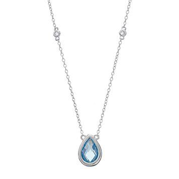 Sterling Silver Blue & White Topaz Teardrop Necklace