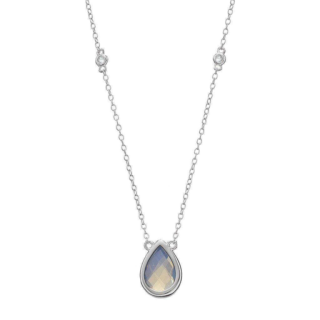 Sterling Silver Lab-Created Opal & White Topaz Teardrop Necklace