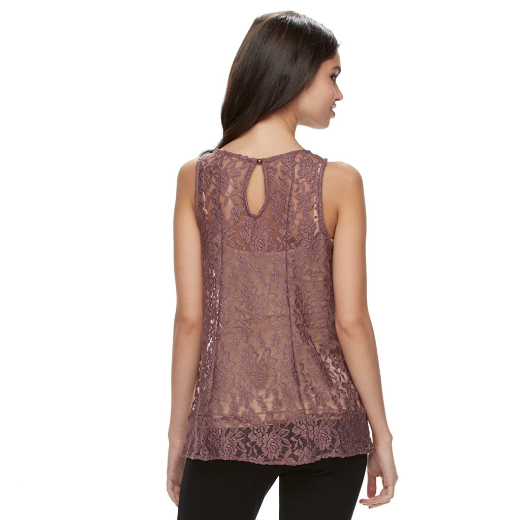 Juniors' Mudd® Sheer Lace Tank Top