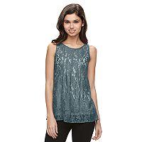 Juniors' Mudd® Sheer Lace Tank Top