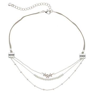 LC Lauren Conrad Flower & Beaded Waterfall Choker Necklace