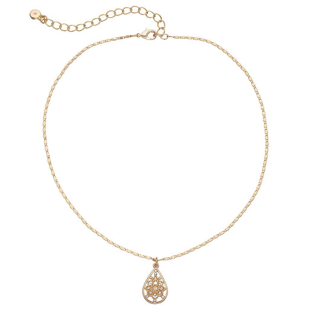 LC Lauren Conrad Simulated Crystal Teardrop Pendant Choker Necklace