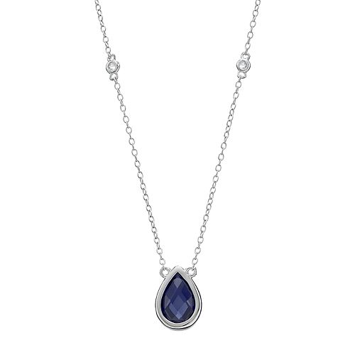 Sterling Silver Lab-Created Sapphire & White Topaz Teardrop Necklace