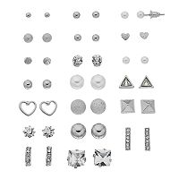 Mudd® Heart & Simulated Pearl Nickel Free Earring Set