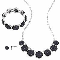 Black Faceted Round Necklace, Stretch Bracelet & Earring Set