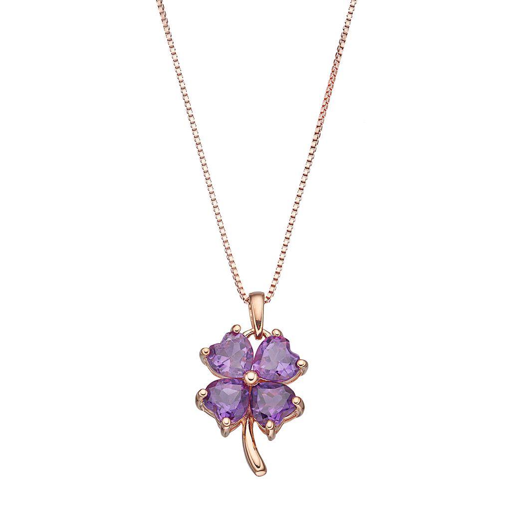 14k Rose Gold Over Silver Amethyst Four-Leaf Clover Pendant Necklace