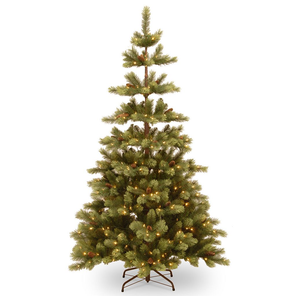 National Tree Company 7.5-ft. Pre-Lit ''Feel Real'' Woodland Carolina Pine Artificial Christmas Tree Floor Decor