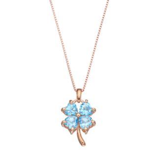 14k Rose Gold Over Silver Blue Topaz Four-Leaf Clover Pendant Necklace