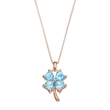 14k Rose Gold Over Silver Blue Topaz Four-Leaf Clover Pendant Necklace