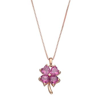 14k Rose Gold Over Silver Lab-Created Pink Sapphire Four-Leaf Clover Pendant Necklace