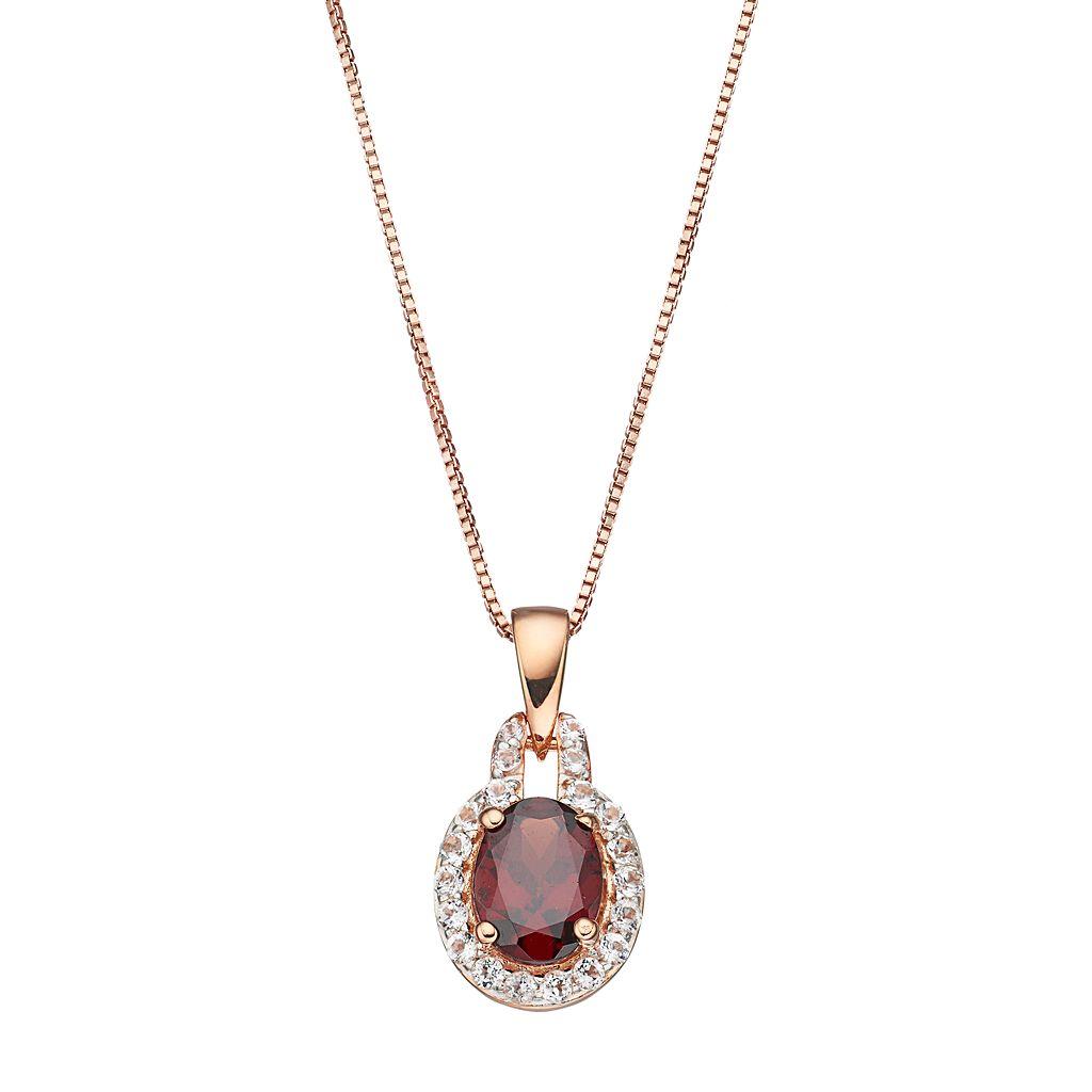 14k Rose Gold Over Silver Garnet & White Topaz Oval Halo Pendant Necklace
