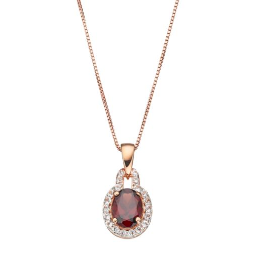 14k Rose Gold Over Silver Garnet & White Topaz Oval Halo Pendant Necklace
