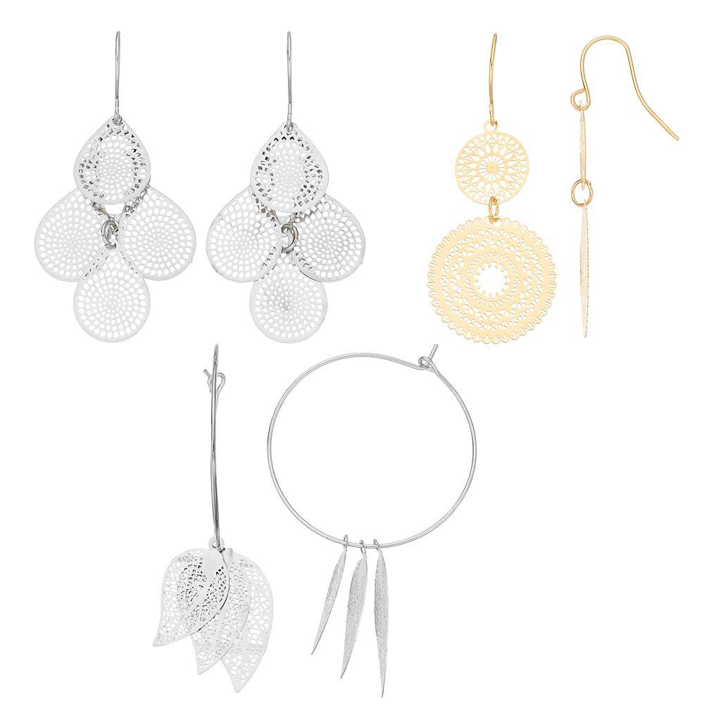 Mudd® Medallion Drop, Teardrop Kite & Leaf Hoop Nickel Free Earring Set
