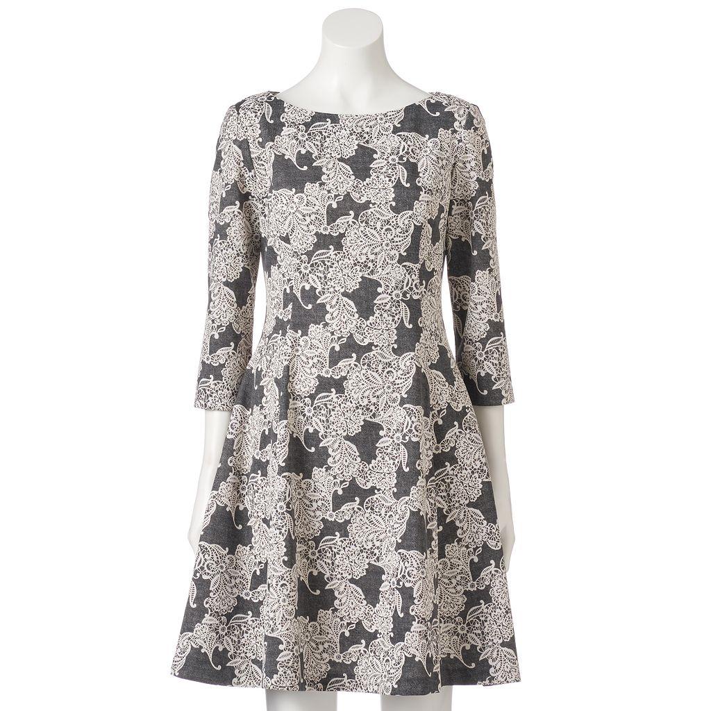 Women's Jessica Howard Lace Jacquard A-Line Dress