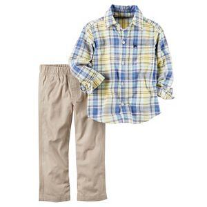 Baby Boy Carter's Plaid Shirt & Solid Pants Set