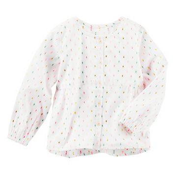 Toddler Girl OshKosh B'gosh® Multi-Colored Swiss Dot Woven Button-Down Top