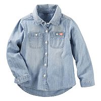 Toddler Girl OshKosh B'gosh® Long Sleeve Chambray Button-Down Shirt