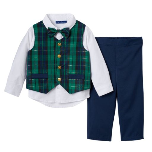 Toddler Boy Matt's Scooter Plaid Vest, Solid Shirt, Pants & Bowtie Set