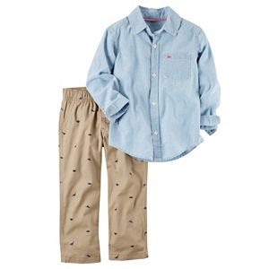 Baby Boy Carter's Chambray Shirt & Dino Canvas Pants Set