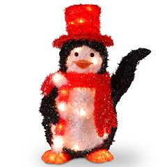 National Tree Company Candy Cane Penguin Christmas Table Decor