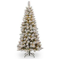 National Tree Company 7.5-ft. Pre-Lit Artificial Snowy Bristle Pine Slim Christmas Tree