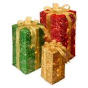 National Tree Company Pre-Lit Gift Box Christmas Decor 3-piece Set