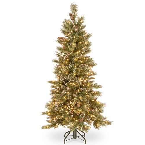 National Tree Company 5-ft. Pre-Lit Glittering Pine Slim Artificial  Christmas Tree - National Tree Company 5-ft. Pre-Lit Glittering Pine Slim Artificial