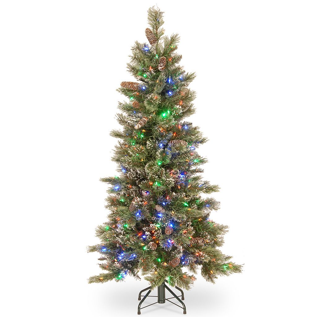 National Tree Company 5-ft. Pre-Lit Glittering Pine Slim Artificial Christmas Tree