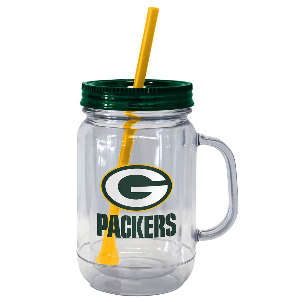 Boelter Brands Green Bay Packers 20-Ounce Plastic Mason Jar Tumbler
