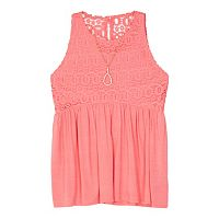 Girls 7-16 IZ Amy Byer Crochet Lace Bodice Top with Necklace