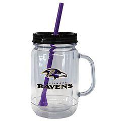 Boelter Brands Baltimore Ravens 20-Ounce Plastic Mason Jar Tumbler