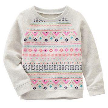 Toddler Girl OshKosh B'gosh® Geometric French Terry Sweatshirt