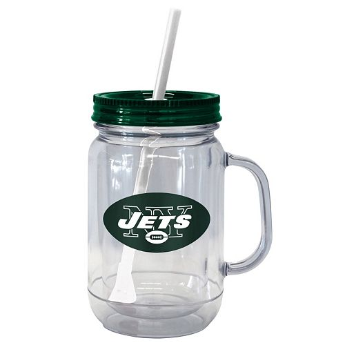 Boelter Brands New York Jets 20-Ounce Plastic Mason Jar Tumbler