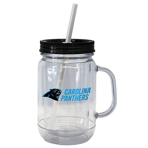 Boelter Brands Carolina Panthers 20-Ounce Plastic Mason Jar Tumbler