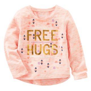 """Toddler Girl OshKosh B'gosh® """"Free Hugs"""" Space-Dye Tee"""