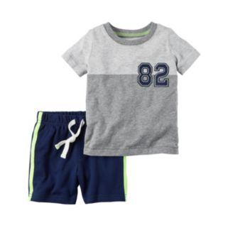 "Baby Boy Carter's Colorblock ""82"" Tee & Side-Stripe Shorts Set"
