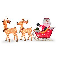 National Tree Company 86-in. Pre-Lit Santa & Reindeer Christmas Decor