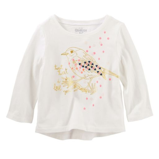"Toddler Girl OshKosh B'gosh ""Tweet Tweet"" Bird Graphic Tee"