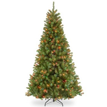 National Tree Company 7-ft. North Valley Spruce Hinged Multicolor Pre-Lit Artificial Christmas Tree