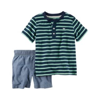 Baby Boy Carter's Striped Henley & Chambray Shorts Set