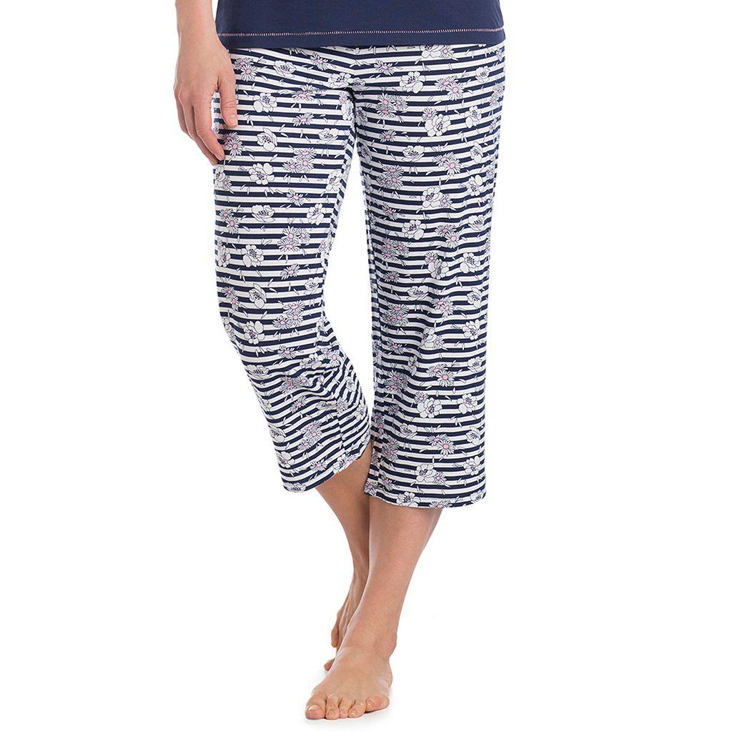 Women's Jockey Pajamas: Floral Striped Capri Pants