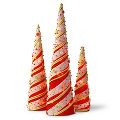 National Tree Company Red Sisal Cones Christmas Table Decor