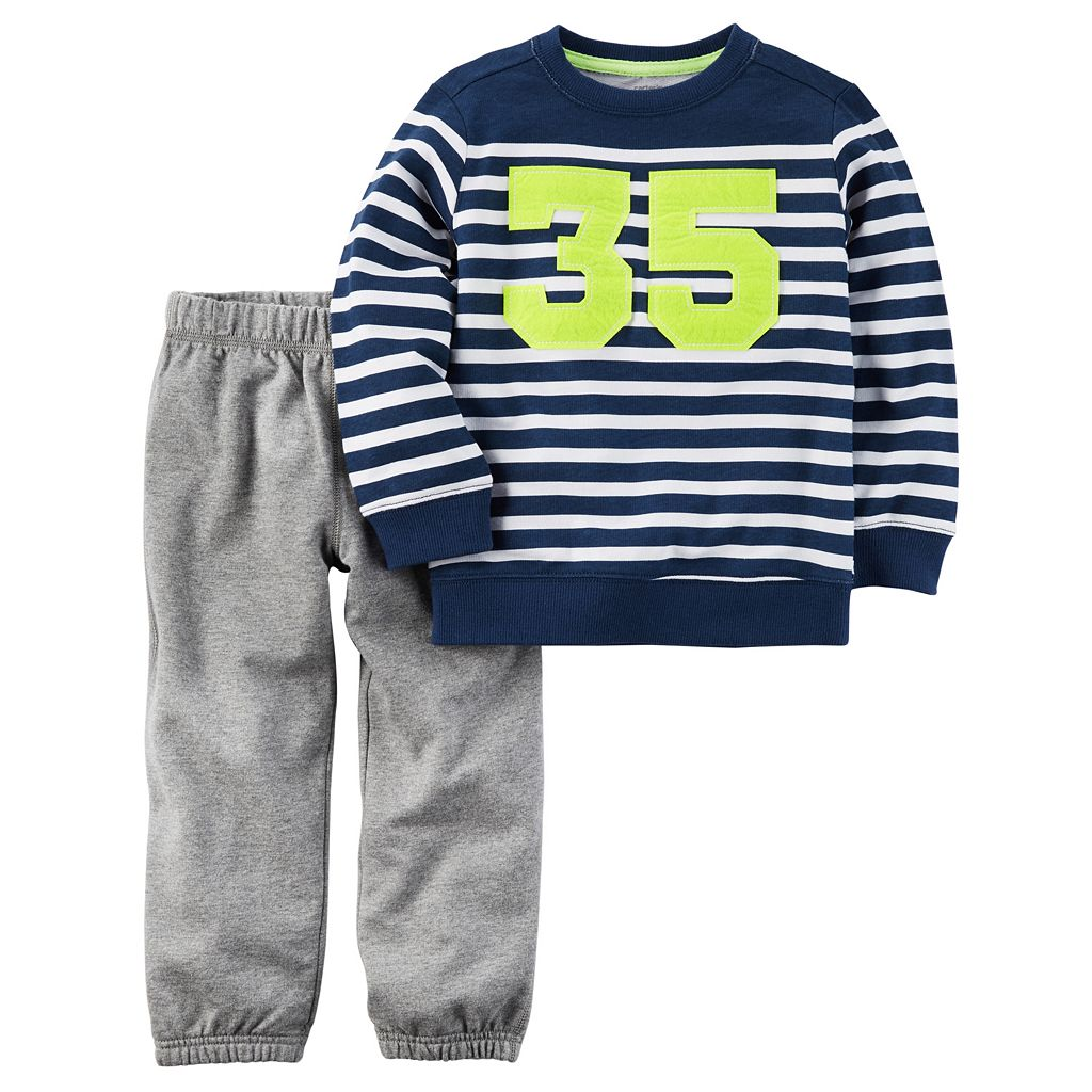 Baby Boy Carter's Striped Sweatshirt & Solid Sweatpants Set
