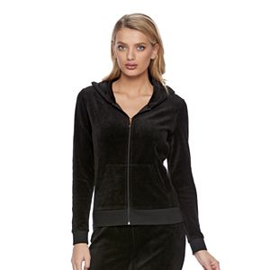 Women's Juicy Couture Black Velour Hoodie Jacket