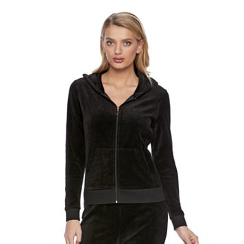 Women's Juicy Couture Black Velour Hoodie Jacket