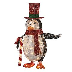 National Tree Company 36-in. Pre-Lit Penguin & Candy Cane Christmas Decor